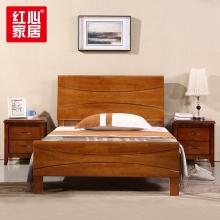 【红心家居】现代中式卧室家具1.5米主卧实木床 1.5米床