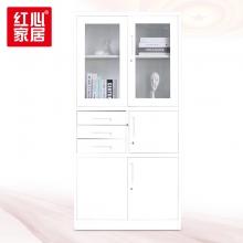 【红心家居】加厚铁皮书柜玻璃门资料柜办公专用对开柜抽屉柜 偏三内斗文件柜