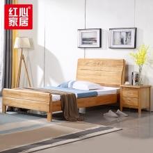 【红心家居】实木床现代中式 卧室家具1.8米双人床 1.8米床+床头柜