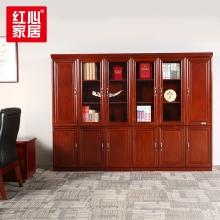 【红心家居】漆书柜6门木质文件柜贴实木皮办公室储物落地柜书橱 6门办公柜