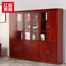 【红心家居】办公家具办公柜油漆文件柜木质带锁资料柜6门书柜书橱 6门办公柜