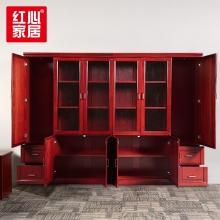 【红心家居】办公家具办公柜油漆文件柜木质带锁资料柜6门书柜 六门柜