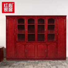 【红心家居】办公家具文件柜木质办公室6门书柜油漆贴实木皮资料柜 六门柜