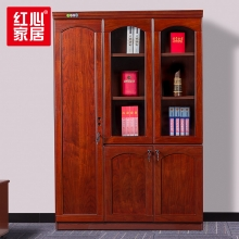 【红心家居】办公家具实木皮油漆书柜文件柜资料柜档案柜3门书柜 左三门